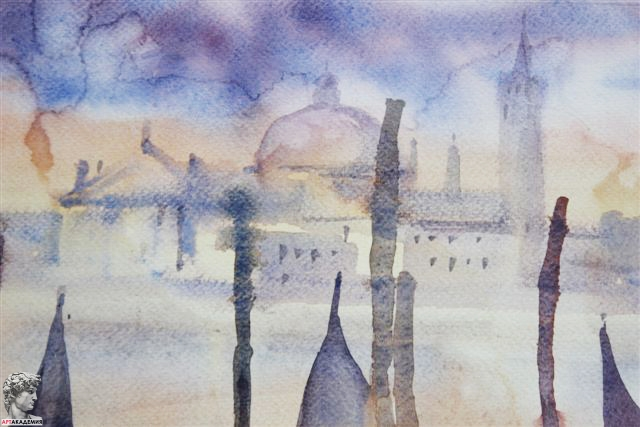 рисуем акварельный пейзаж на курсах рисования