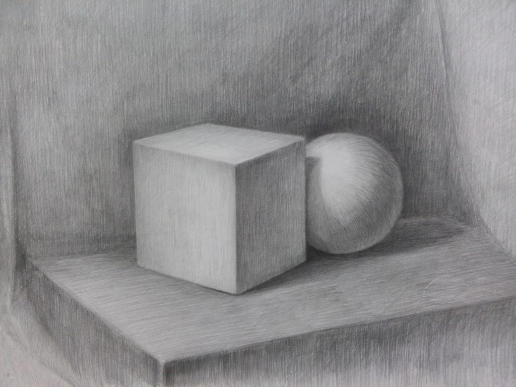 курсы академического рисунка - куб и шар