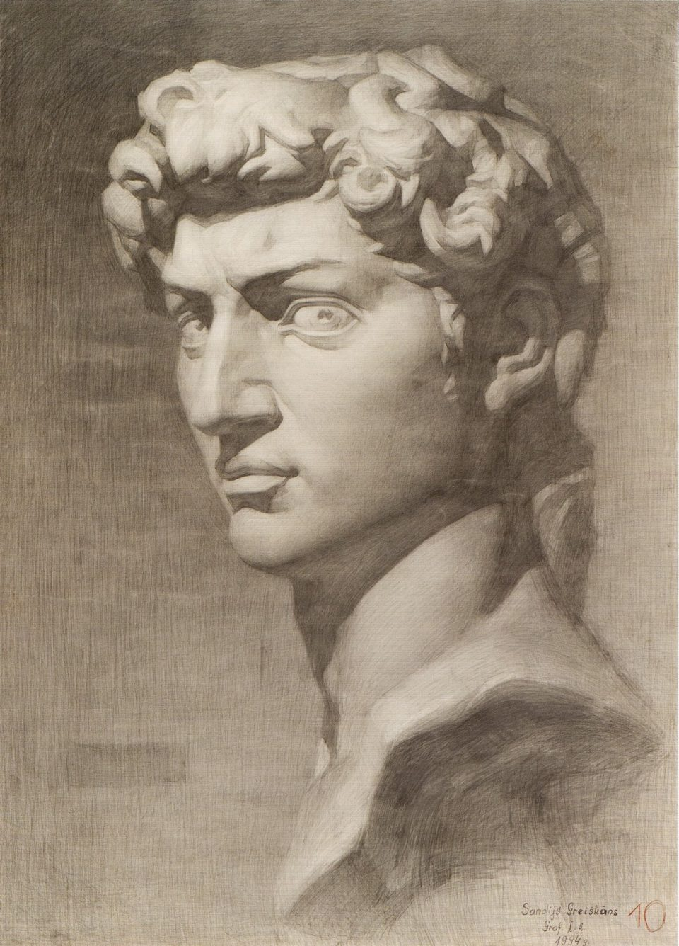 Голова давида на курсах академического рисунка в Артакадемии