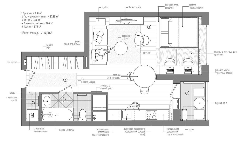 Блок 3- пример плана квартиры в Archicad