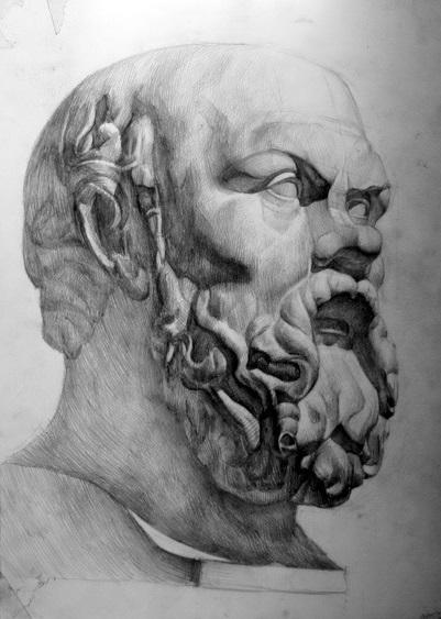 Рисунок головы Сократа, гипс, карандаш