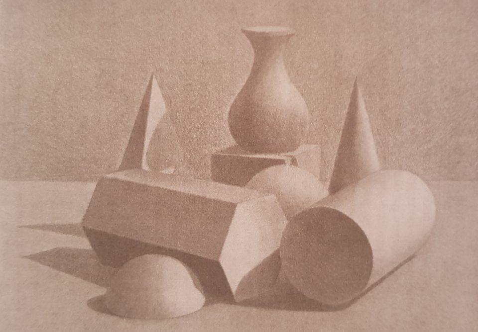 Рисунок карандашом постановка геометрических фигур (студия Артакадемия)