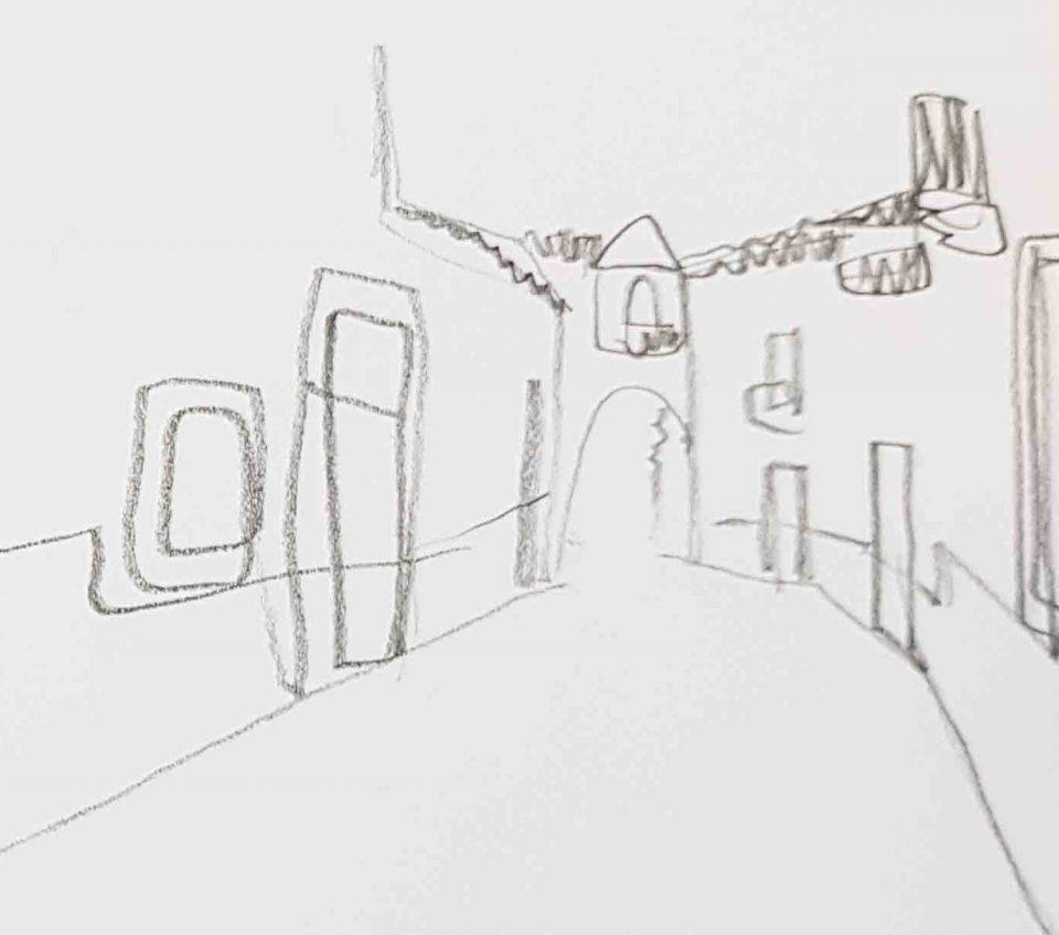 Скетч карандашом рисунок улицы