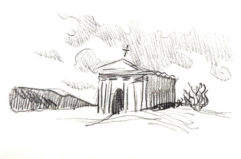 набросок здания церкви карандашом