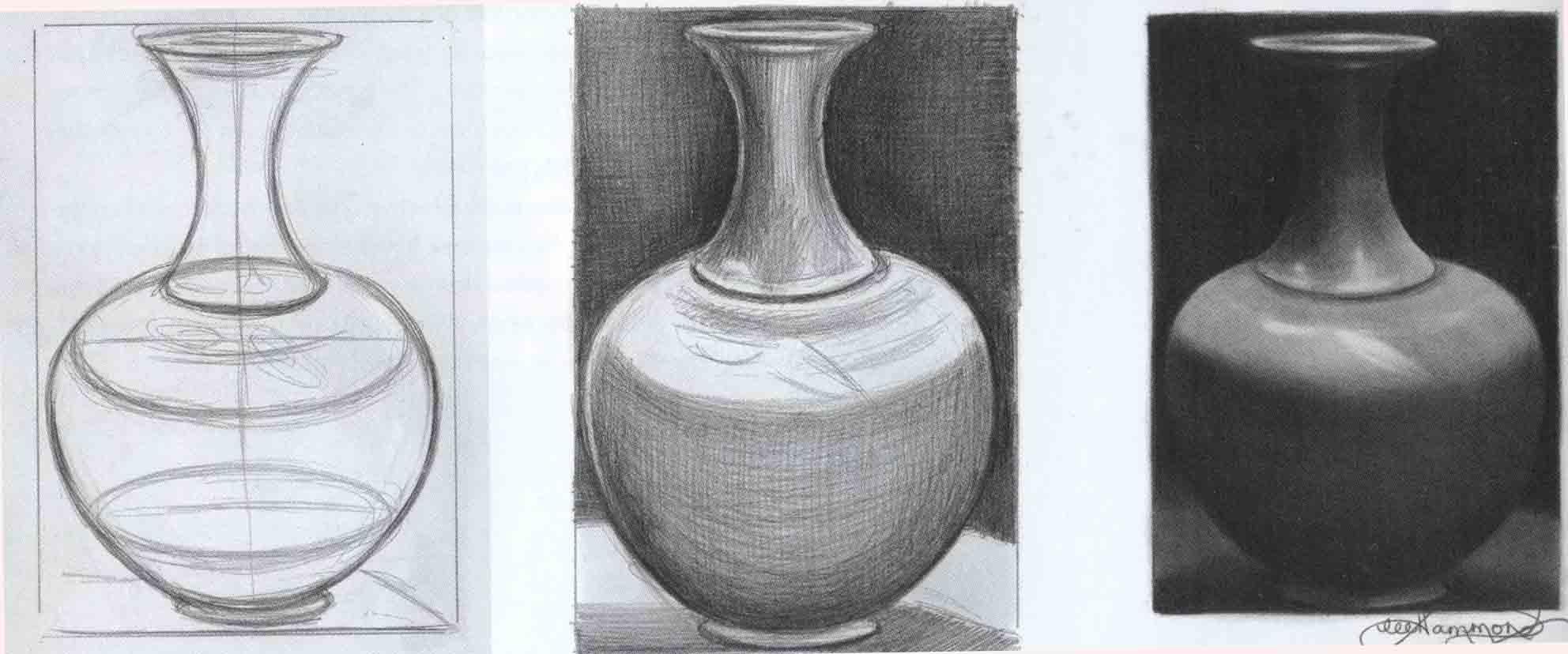 академический рисунок вазы карандашом или углем