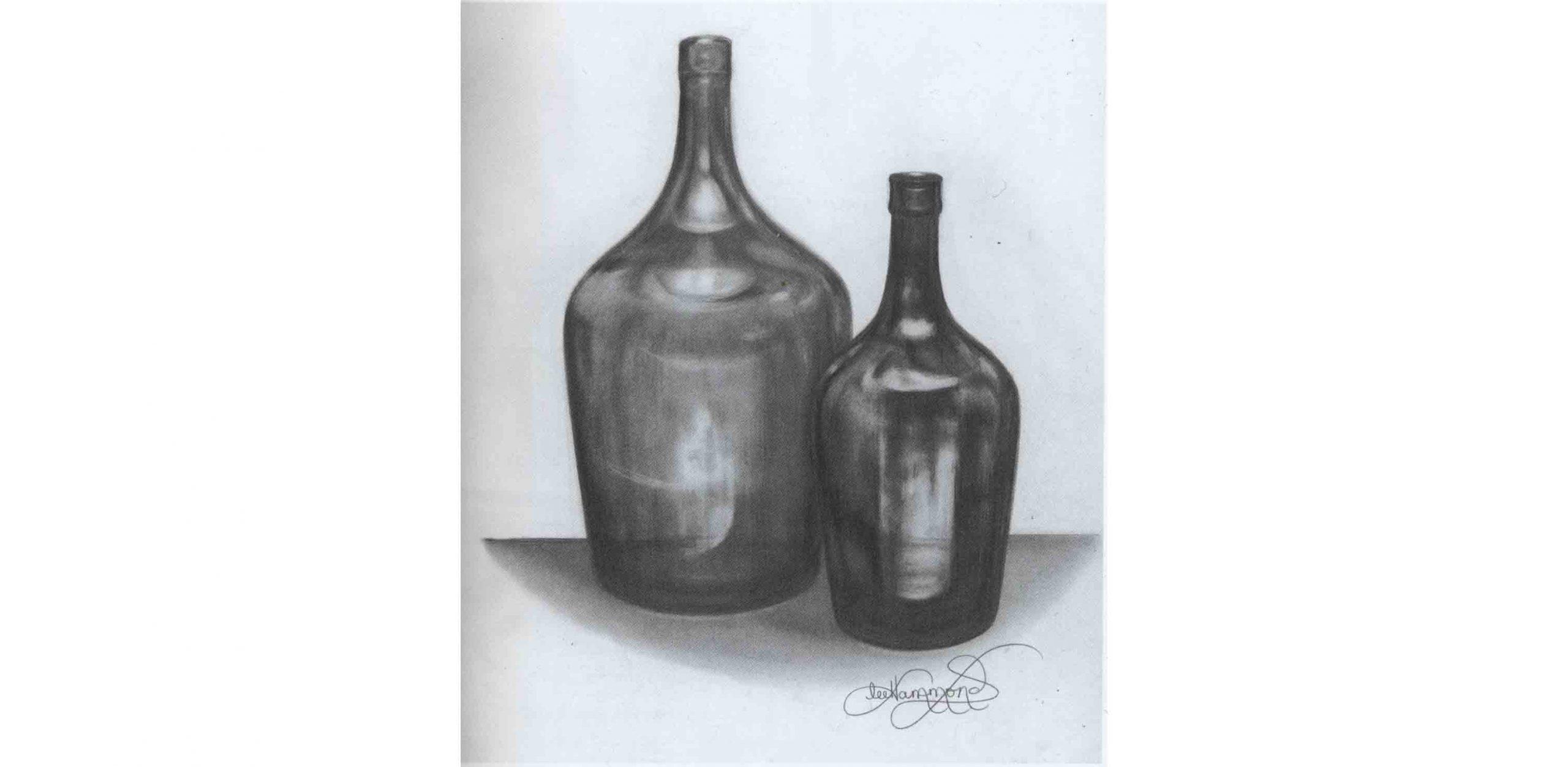 рисунок натюрморта - бутылок карандашом
