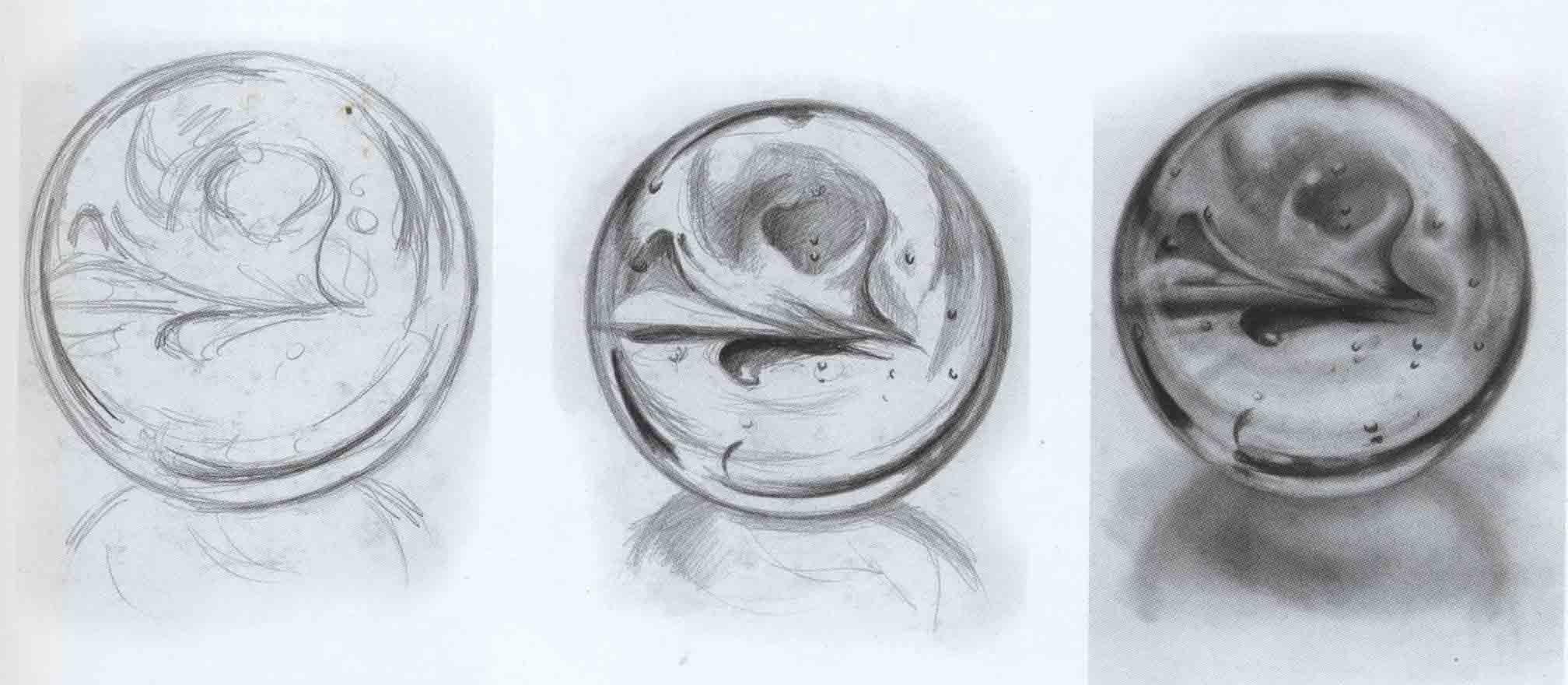 академический рисунок шара - блестящими поверхностями