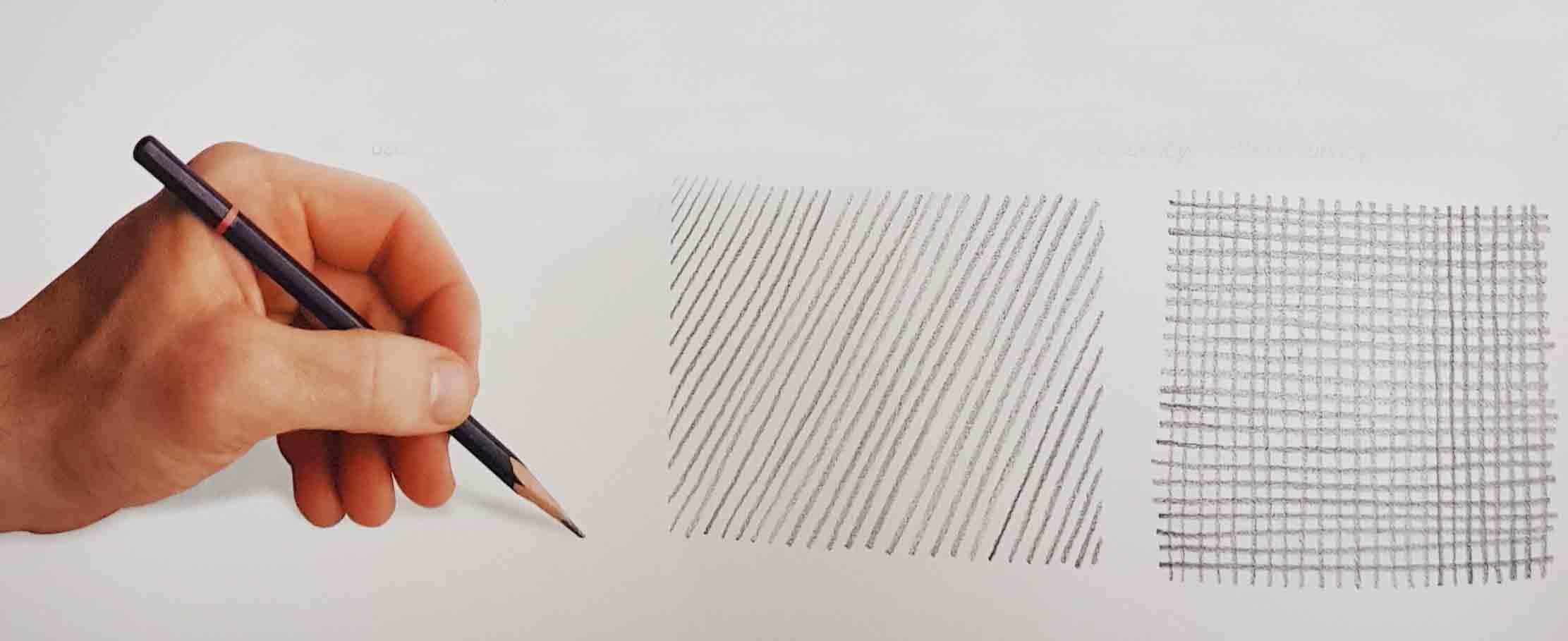 Штриховка одной линией карандашом