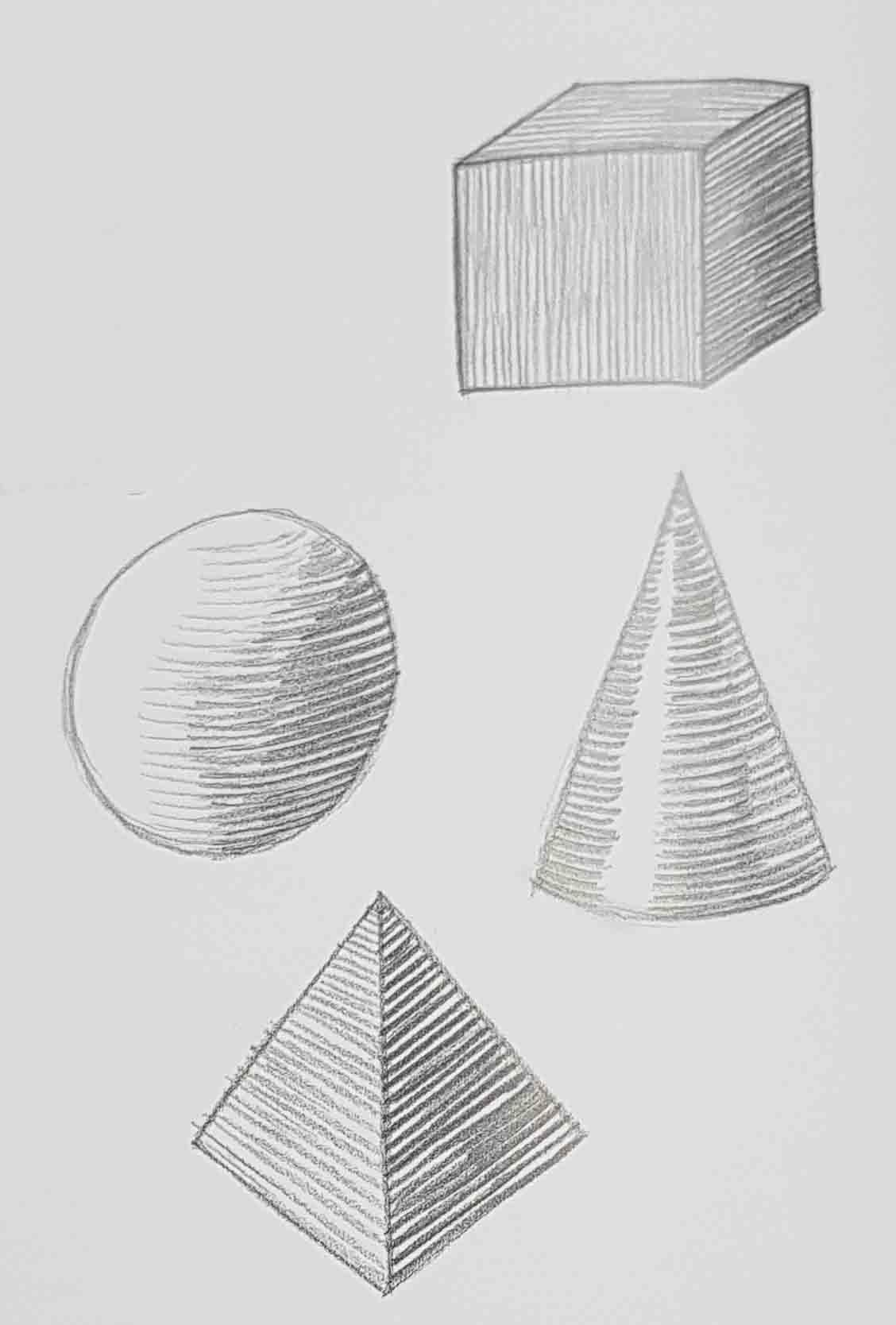 штриховка объемных объектов карандашом