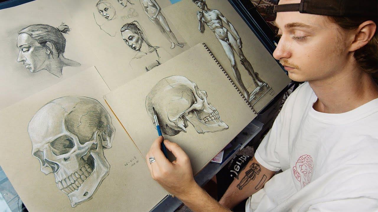школа академического рисунка рисунок черепа